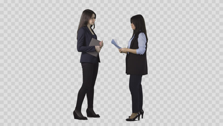 Two women are talking business and watching documents. Pre-keyed clip with  alpha channel - PNG Two People Talking