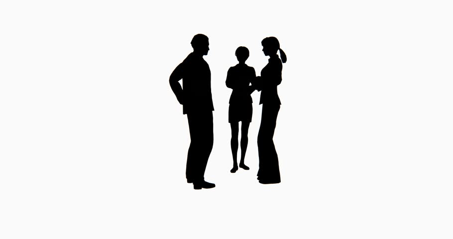 4k Business people silhouette talking. cg_02758_4k - 4K stock video clip - PNG Two Persons Talking