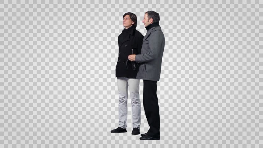 Two men in winter clothes looking at something .Side view. Footage with  alpha channel - PNG Two Persons Talking