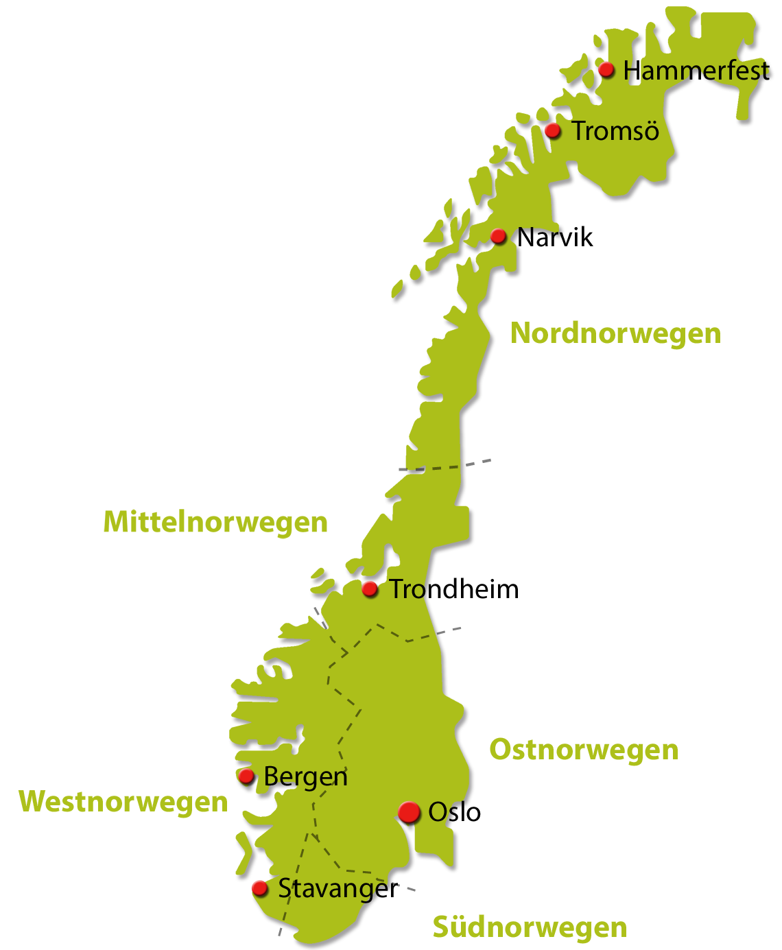 Die Regionen Norwegens - PNG Urlaub Berge