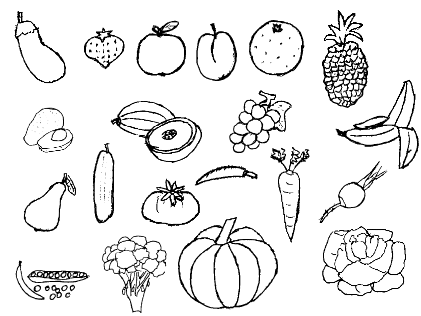 PNG Vegetables And Fruits Black And White - 54841