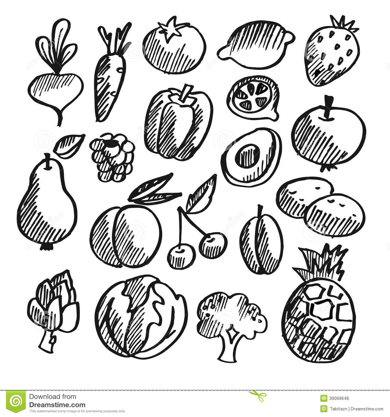 pin Fruits u0026 Vegetables clipart sketch #2 - PNG Vegetables And Fruits Black And White