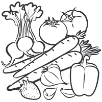 PNG Vegetables And Fruits Black And White - 54836