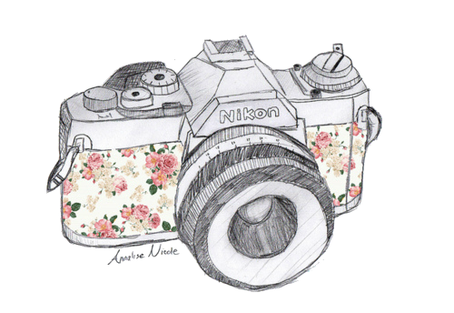 camera, nikon, and flowers image - PNG Vintage Camera