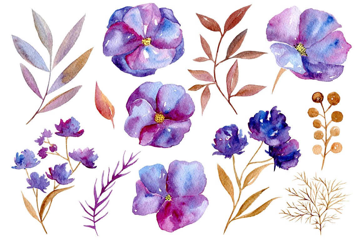 Watercolor violet flowers, 32 png - PNG Violets Flowers