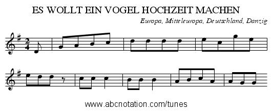 ES WOLLT EIN VOGEL HOCHZEIT MACHEN - staff notation - PNG Vogelhochzeit