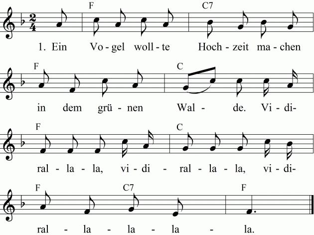 Musiknoten Die Vogelhochzeit - PNG Vogelhochzeit