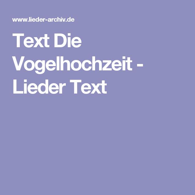 Text Die Vogelhochzeit - Lieder Text - PNG Vogelhochzeit