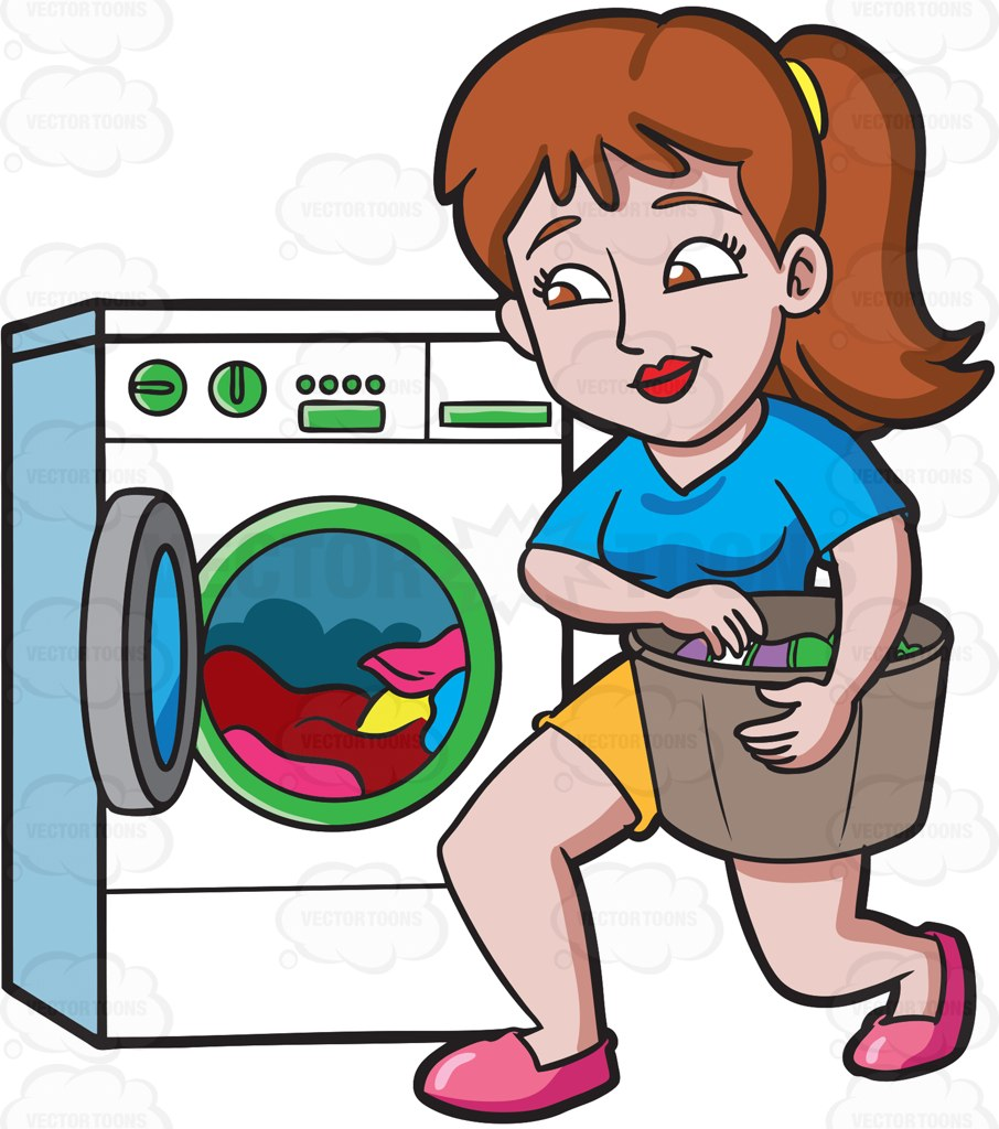 A Woman Placing Clothes In The Washing Machine Cartoon Clipart - PNG Washing Clothes