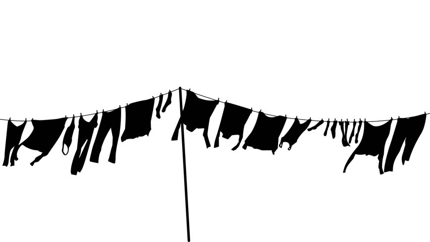 Silhouette Animation Loop Of Clothes Hanging On A Washing Line Swaying In  The Breeze With Alpha Channel, PNG Codec Stock Footage Video 9753215 | PlusPng.com  - PNG Washing Line
