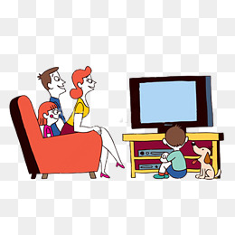 Cartoon family watching TV PNG, Cartoon, Family Watching TV, PNG PNG Image - PNG Watching Tv