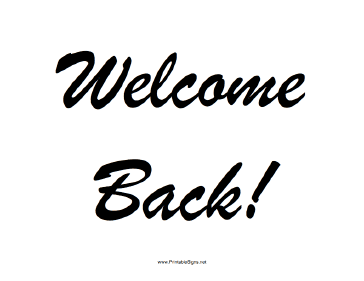 Welcome Back Sign - PNG Welcome Back