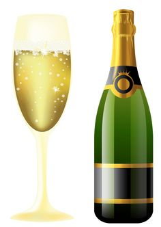 New Year Sparkling Wine and Glass