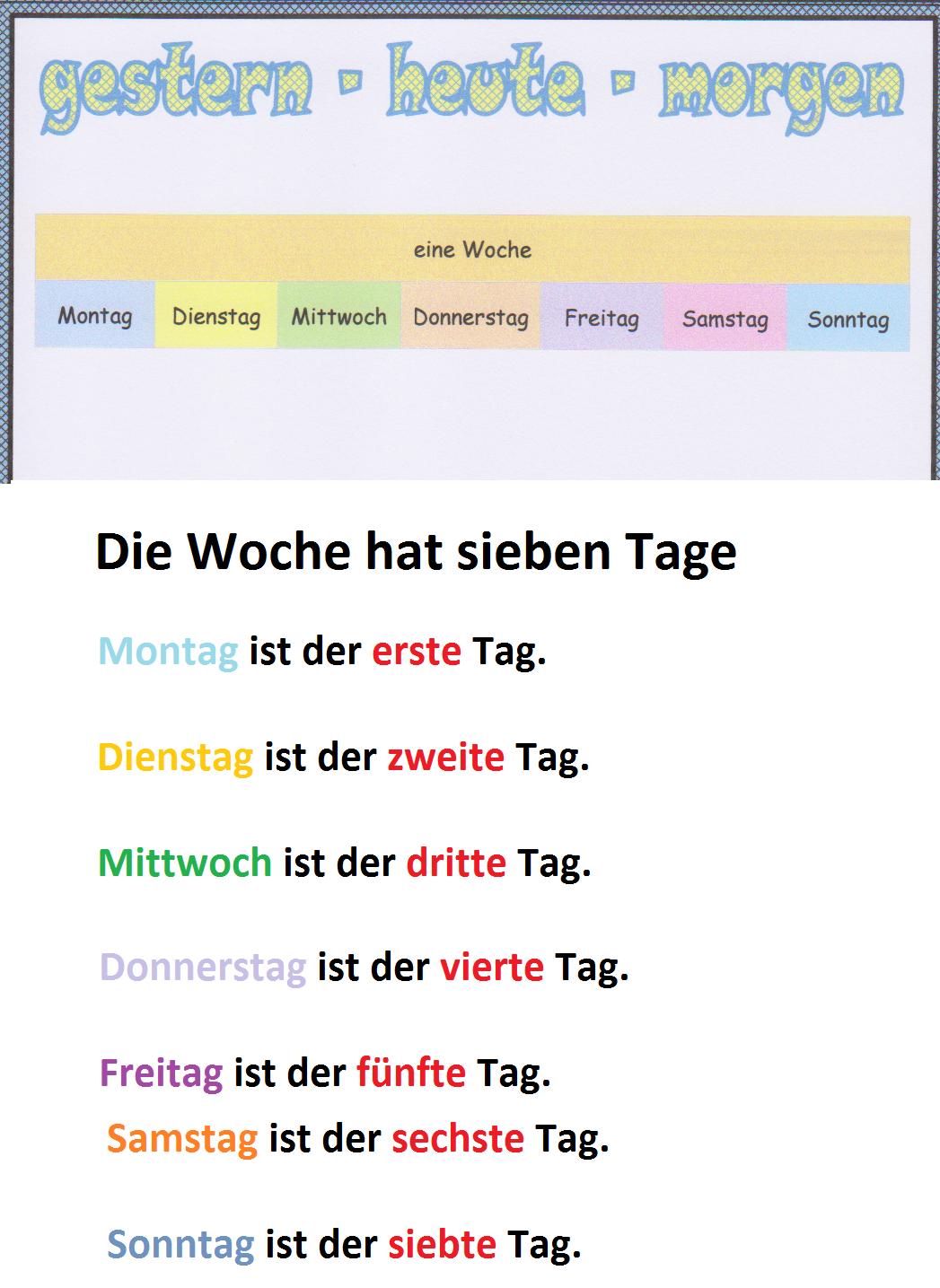 Woche und Wochentage | So ein schöner Tag: Deutsch, Spaß und . - PNG Wochentage