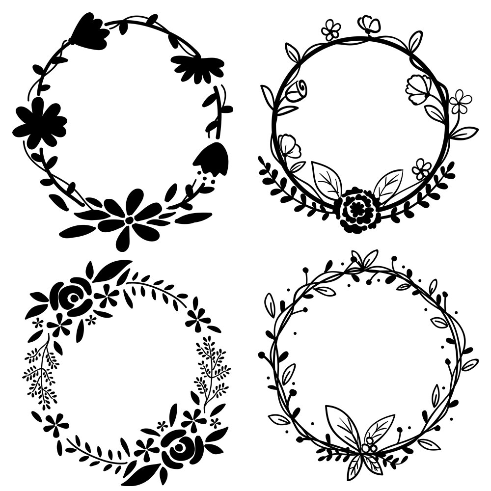 PNG Wreath Black And White - 41093