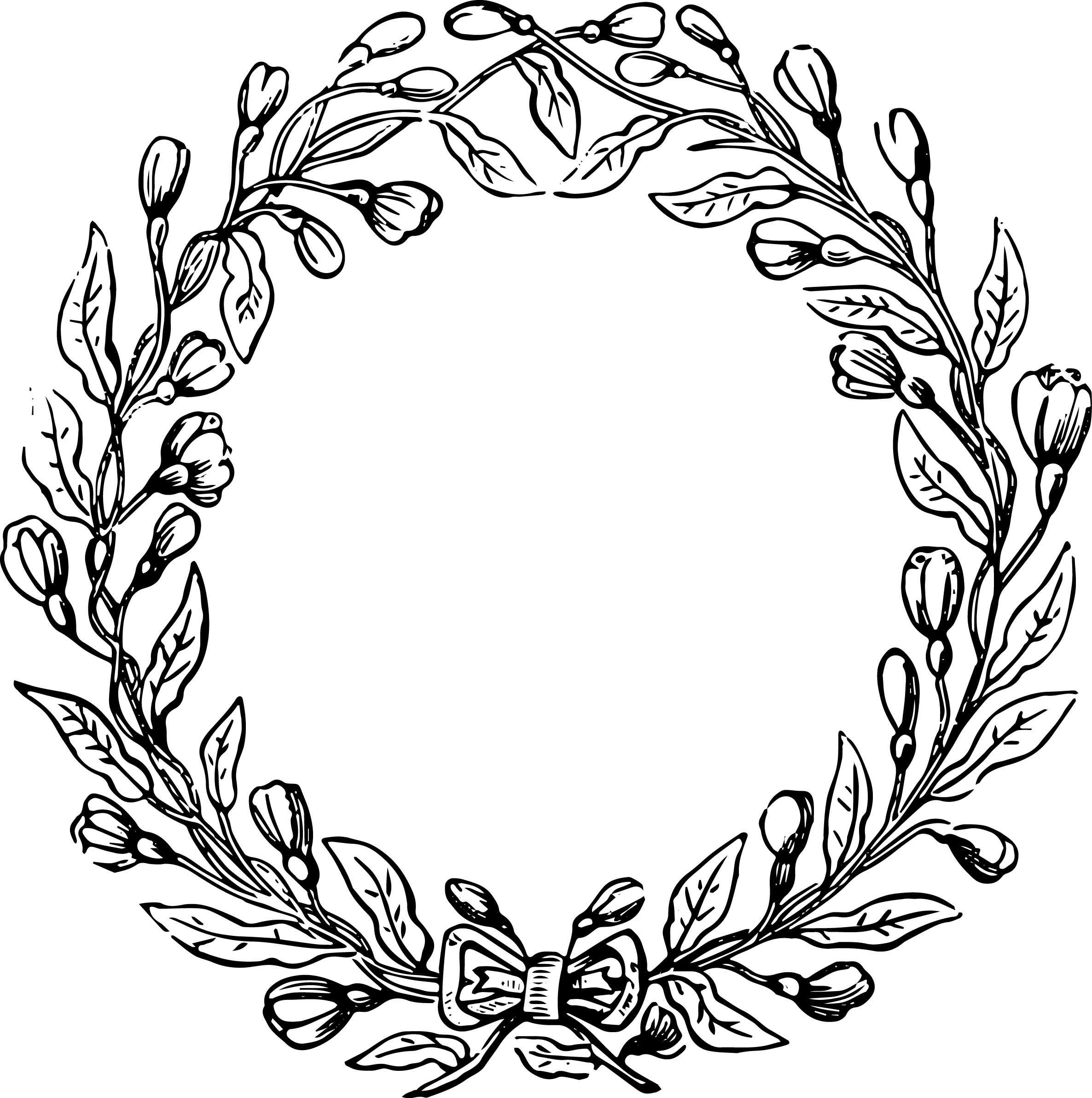 PNG Wreath Black And White - 41084