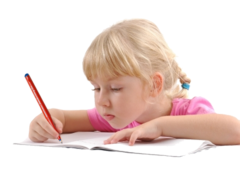 Child writing with a Manuscript Handwriter - PNG Writing Kids