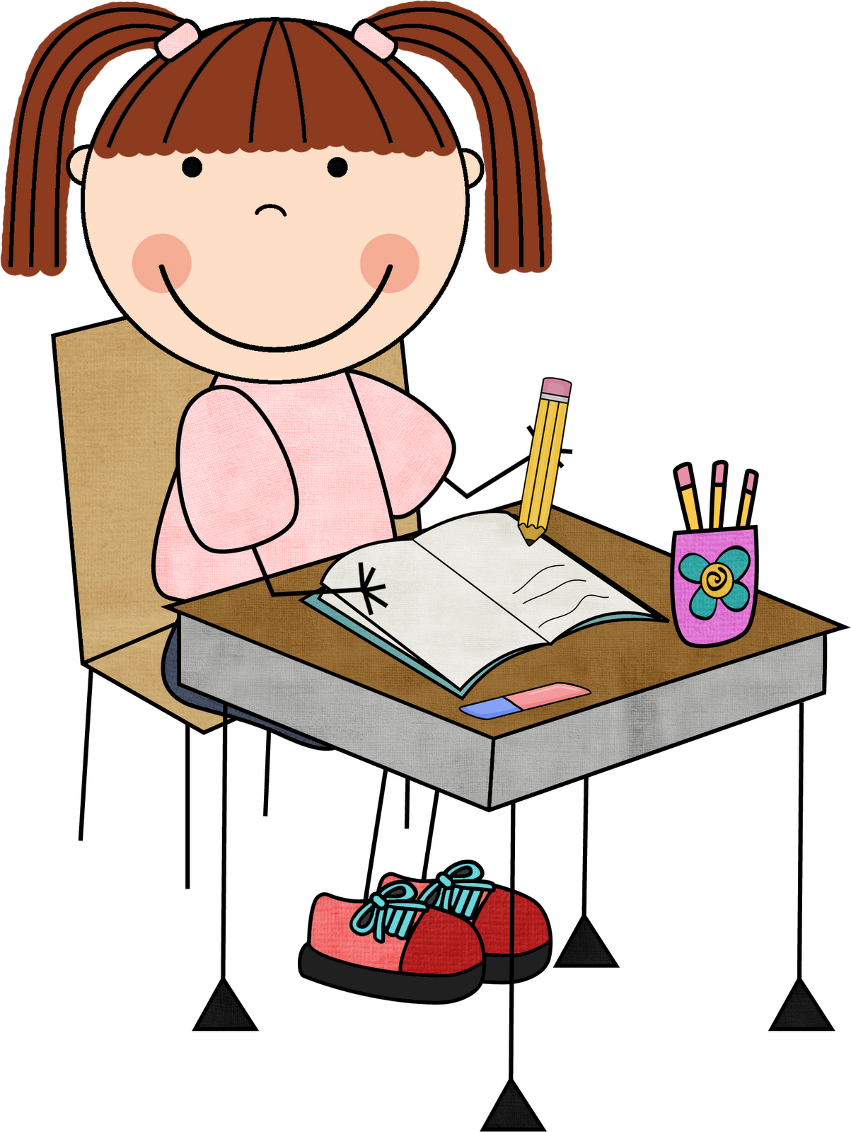 Girls Kids Writing Clipart - PNG Writing Kids