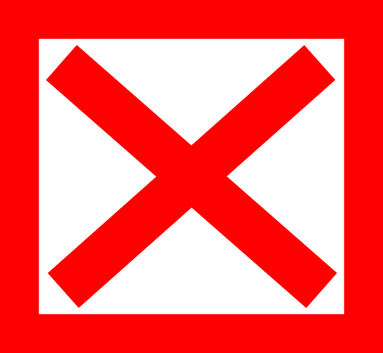Cross, X, Red, Square, Delete