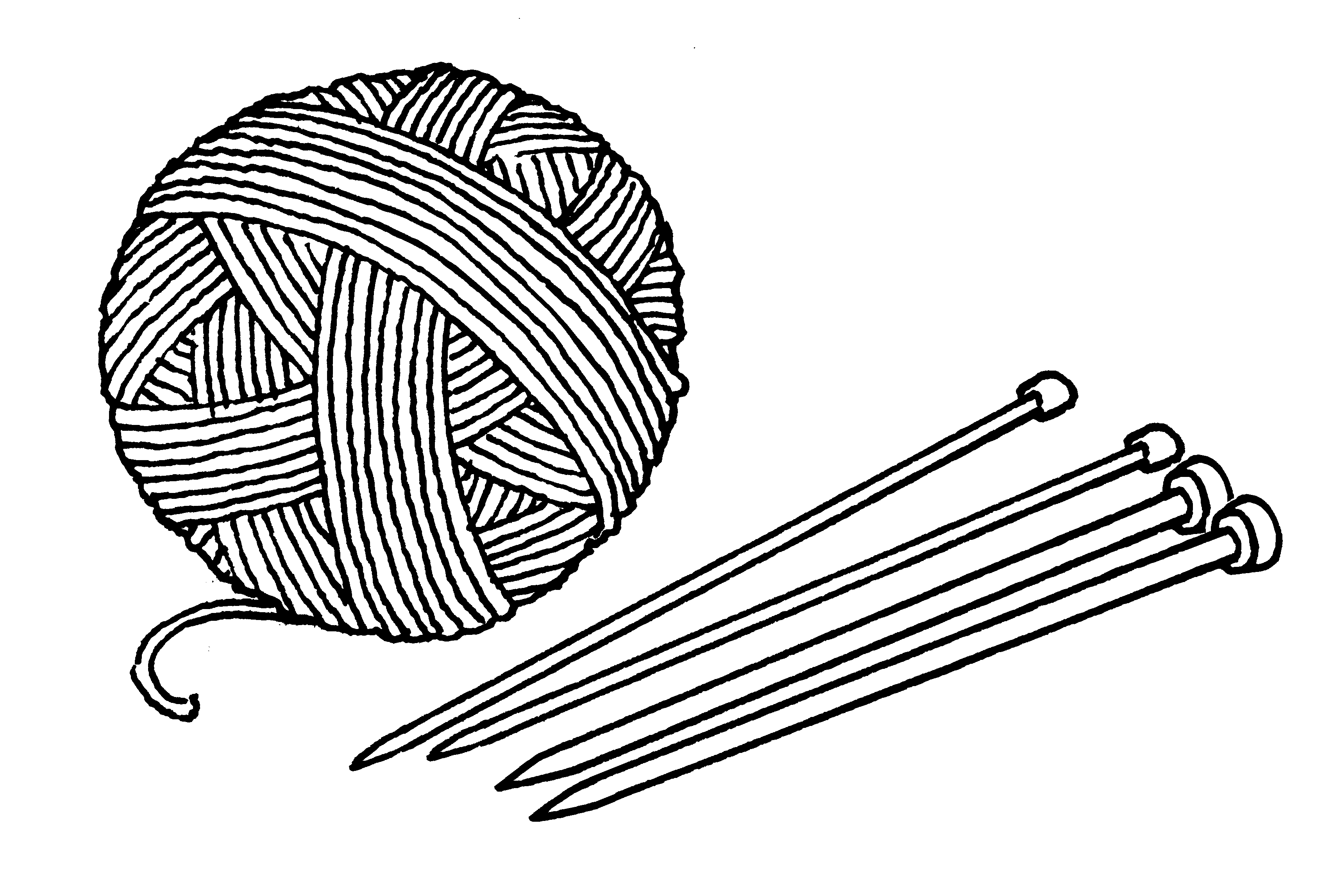 Line Drawing Yarn : Png yarn and knitting needles transparent