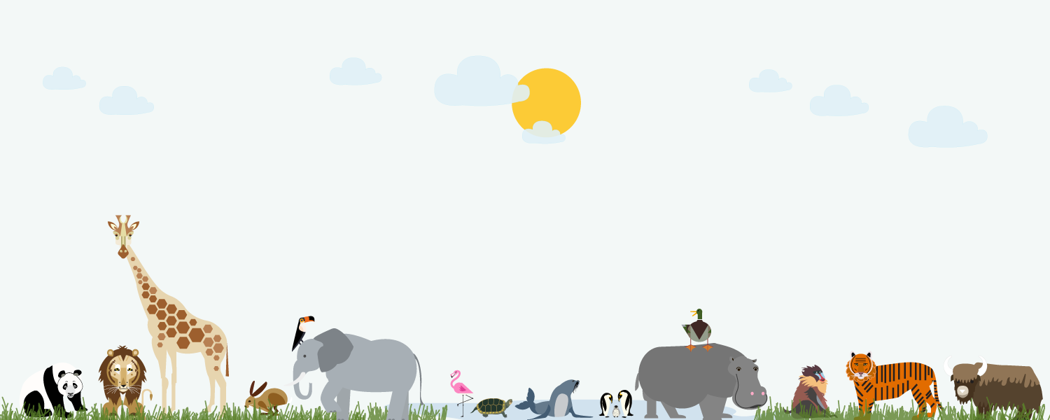 bottom of graphic - safari animals with blue sky - PNG Zoo