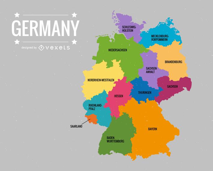Deutschlandkarte Germany Map Vector - PNGs Baden
