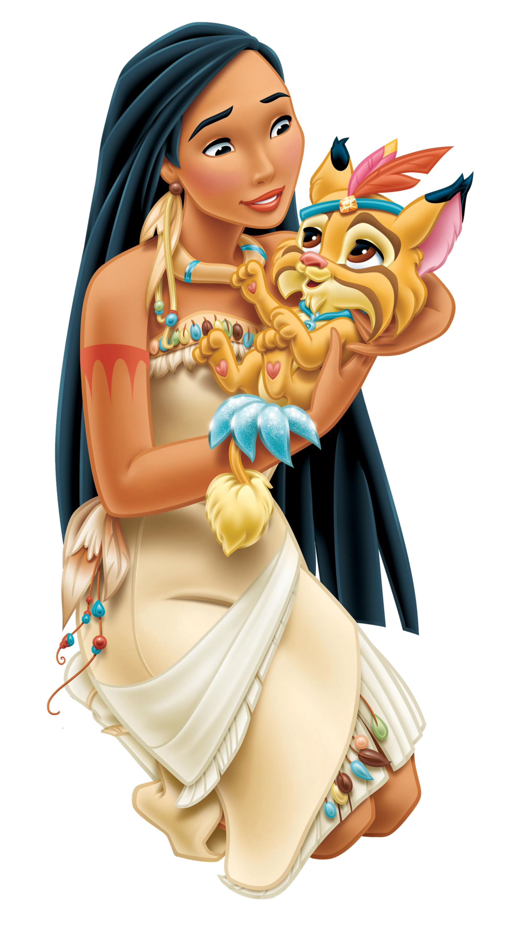 Disney Princess Pocahontas With Little Tiger Transparent PNG Clip Art Image - Pocahontas PNG HD