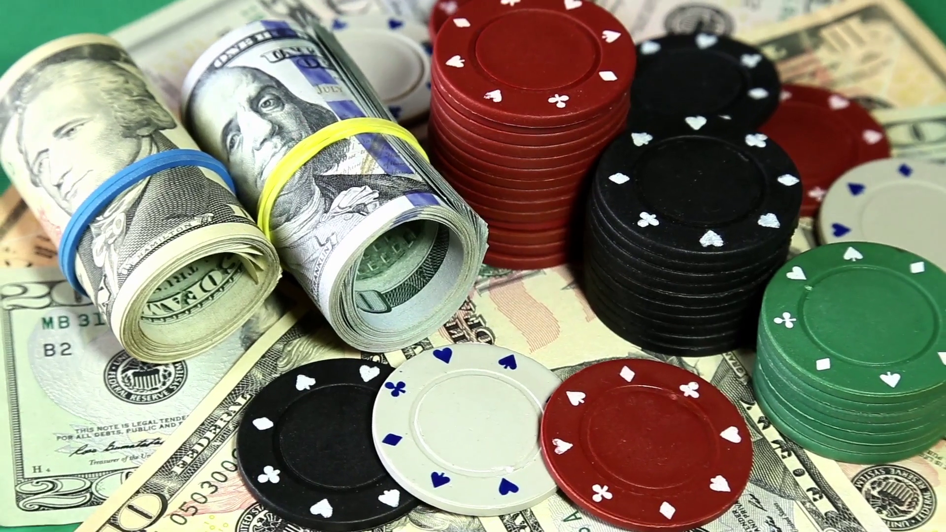Gambling, Fortune, Game And Entertainment Concept - Poker Chips And  American Money Dollars On Rotating Surface Close Up. Stock Video Footage -  VideoBlocks - Poker Chips PNG HD