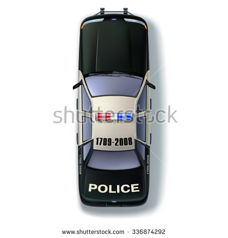 Top view of a police car with the traditional identification marks and  scintillating lights - Police Car PNG Top View