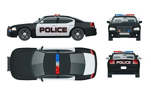 Vector Police car with rooftop flashing lights, a siren and emblems.  Template isolated illustration. View front, rear, side, top. Change the  colour in one PlusPng.com  - Police Car PNG Top View
