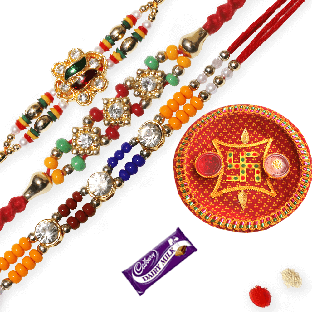 Pooja Ki Thali with 3 Diamond Rakhis - Rakhi PNG