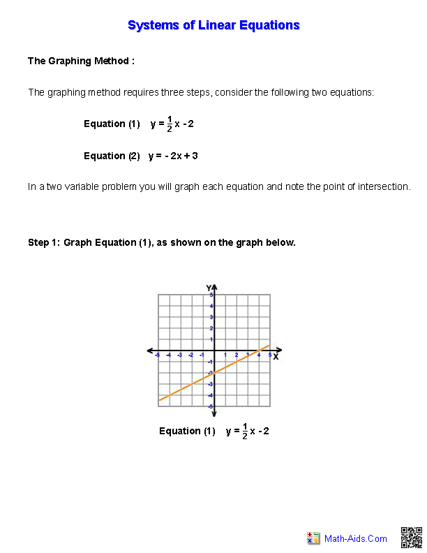 Handout for. Systems of Equations Worksheets - Pre Algebra PNG
