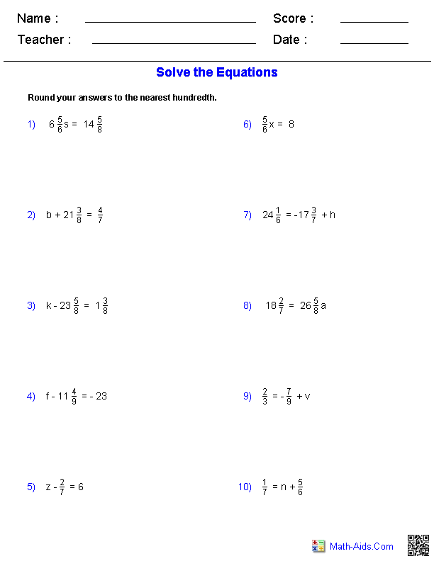 One Step Equations Worksheets Containing Fractions - Pre Algebra PNG