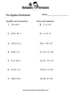 Pre-Algebra Review Worksheet - Pre Algebra PNG