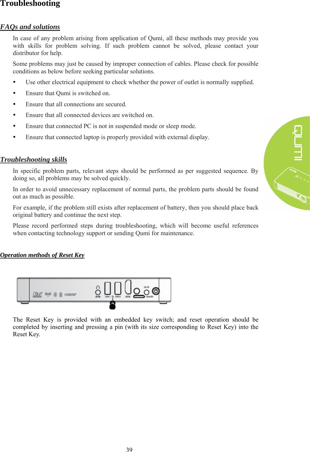 Page 45 of Q3PLUS HD Pocket Projector User Manual Delta Electronics  Incorporated - Problem Solving PNG HD
