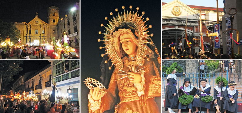 (Counterclockwise, from top left) Processional images waiting in front of  San Agustin Church - Prusisyon PNG