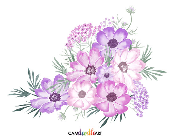 Pink and Purple Watercolor Flowers Clipart Set,Hand Painted Flowers,Watercolor  Bouquets,Scrapbooking Clipart,Watercolor Floral, png file - Purple And Pink Flowers PNG