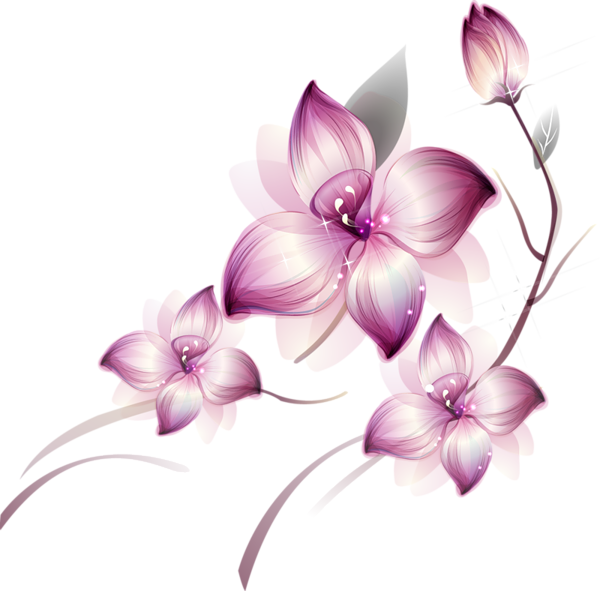[Res] Purple Flowers PNG - Purple And Pink Flowers PNG