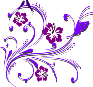 Purple Butterfly Scroll Clip Art - Butterfly Design PNG