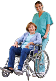 About Us caregiver pushing wheelchair of patient - Pushing Wheelchair PNG