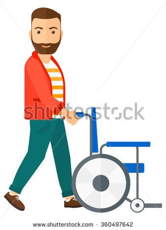 Man pushing wheelchair. - Pushing Wheelchair PNG