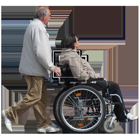 Man Pushing Woman in Wheelchair. Parent Category : Cutouts - Pushing Wheelchair PNG