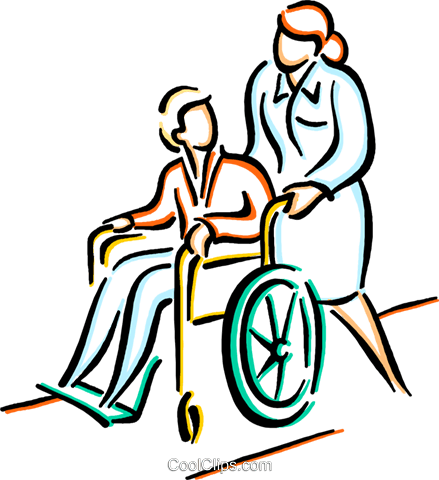 nurse pushing patient in a wheelchair Royalty Free Vector Clip Art  illustration - Pushing Wheelchair PNG