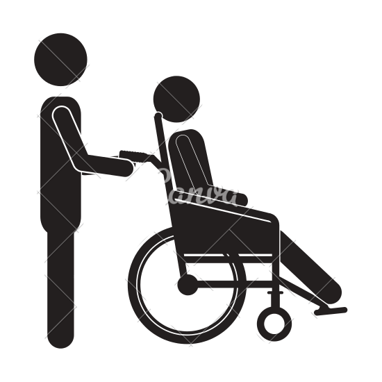 Person Pushing a Wheelchair - Pushing Wheelchair PNG