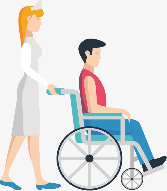 Push the wheelchair nurse Free PNG and Vector - Pushing Wheelchair PNG