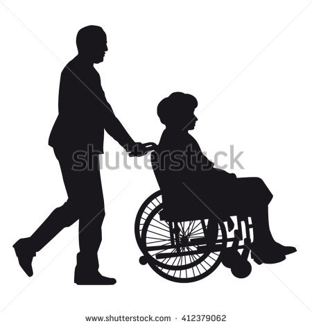 Senior man pushing wheelchair with physically disabled old woman silhouette  isolated - Pushing Wheelchair PNG