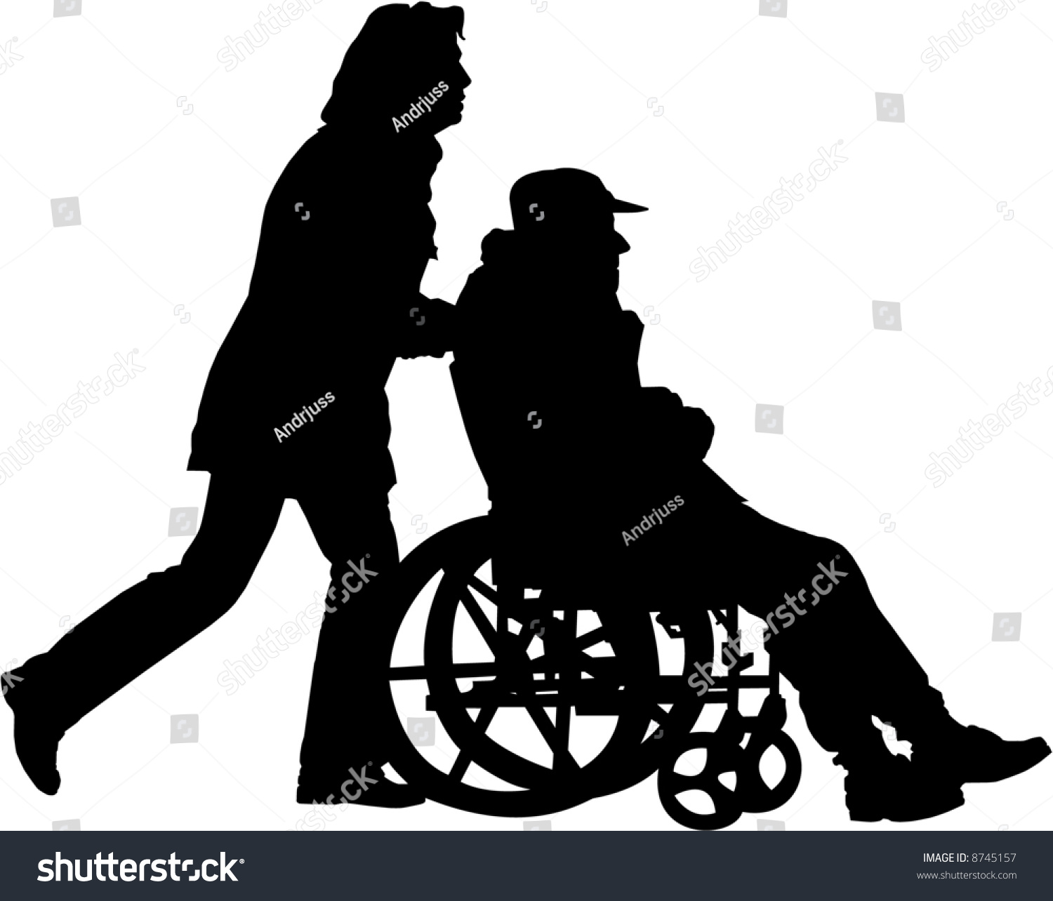 vector image of woman pushing man in the wheelchair on a walk - Pushing Wheelchair PNG