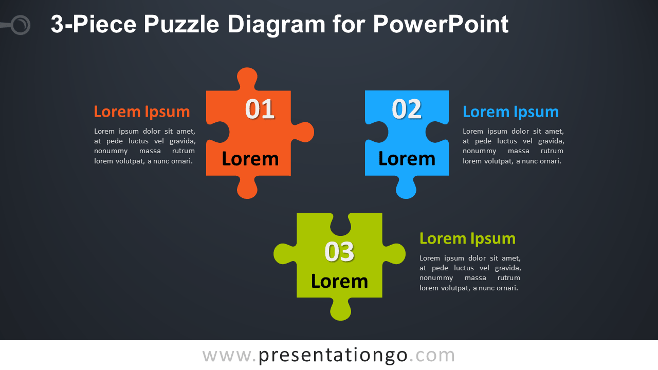 3-Piece Puzzle Diagram For PowerPoint - Widescreen - Dark Background - Jigsaw  PNG For - Puzzle PNG HD Powerpoint