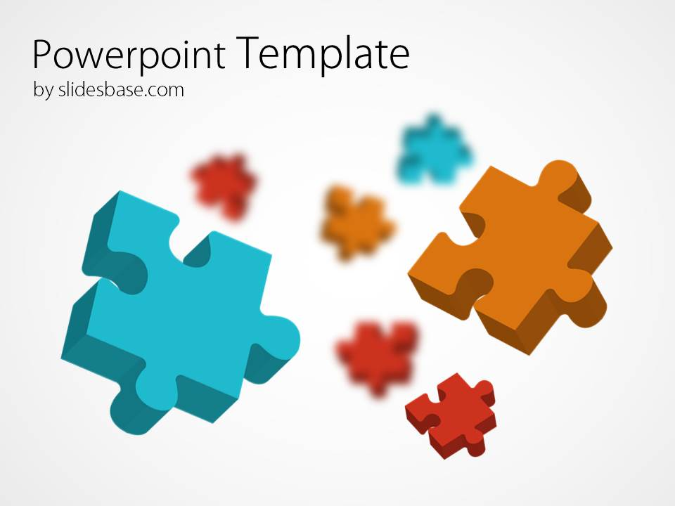Abstract Powerpoint Template With Colorful Jigsaw Puzzles Pieces Background
