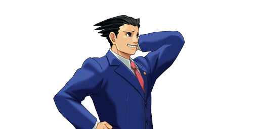 PXZ2 Phoenix Wright (zoom) - Abashed (right).png - Ace Attorney PNG